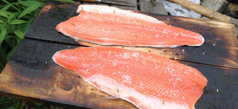Smoked salmon or trout on a wooden plank