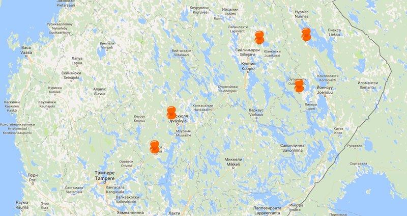 Коттеджи в центральной Финляндии у горнолыжного курорта