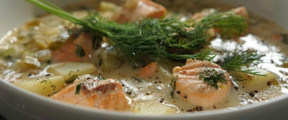 сливочный рыбный суп из лосося